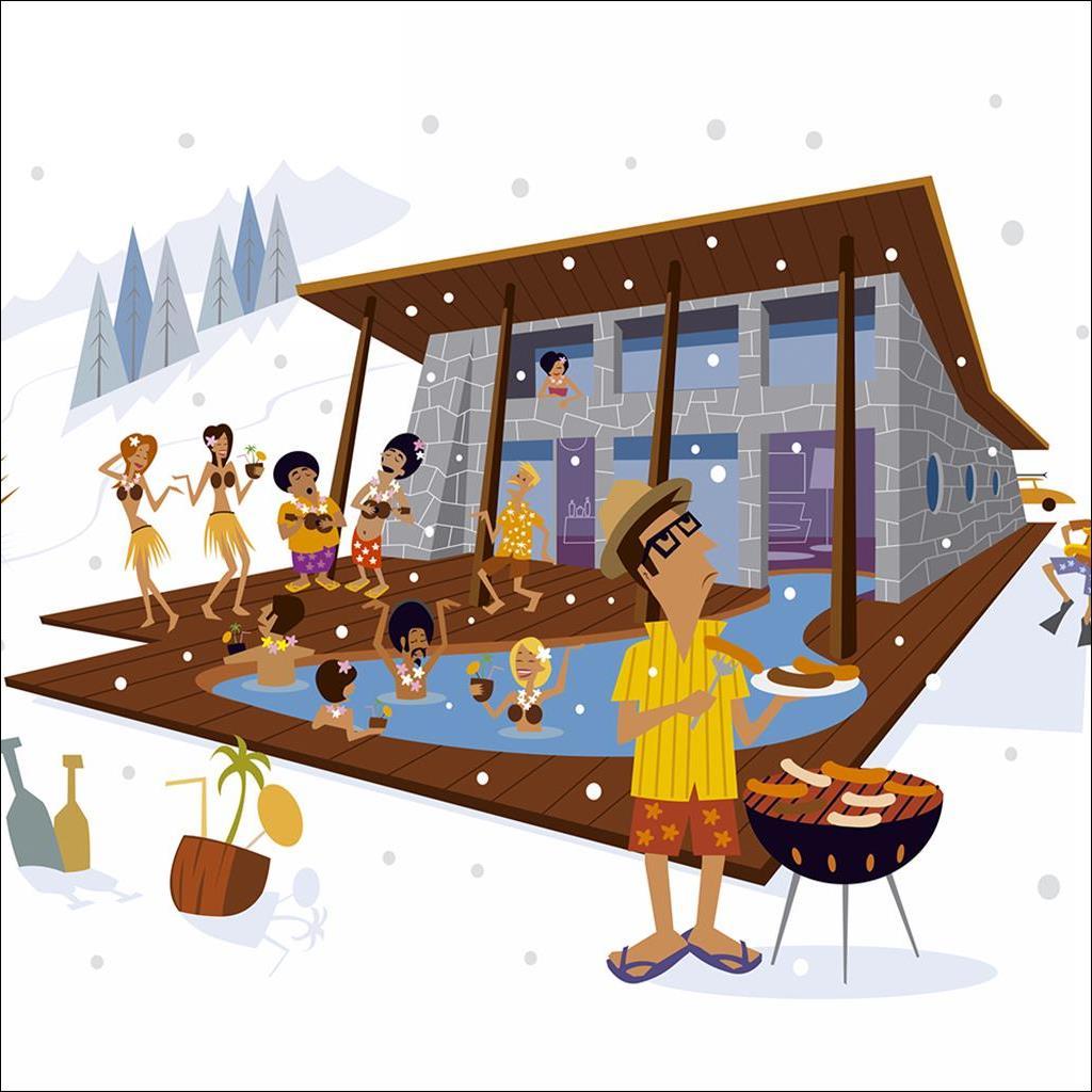 Hawaiian snow BBQ party