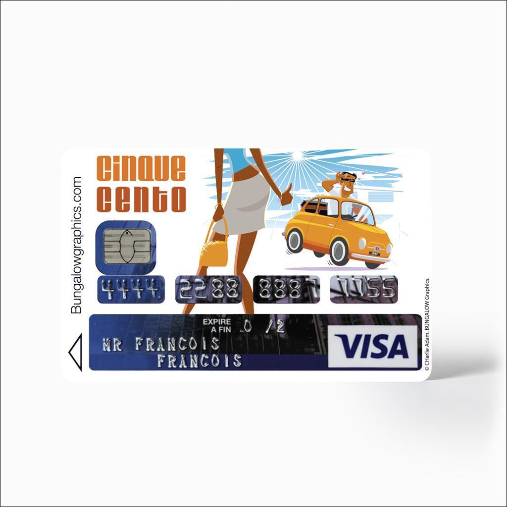 Sticker carte bancaire Fiat 500