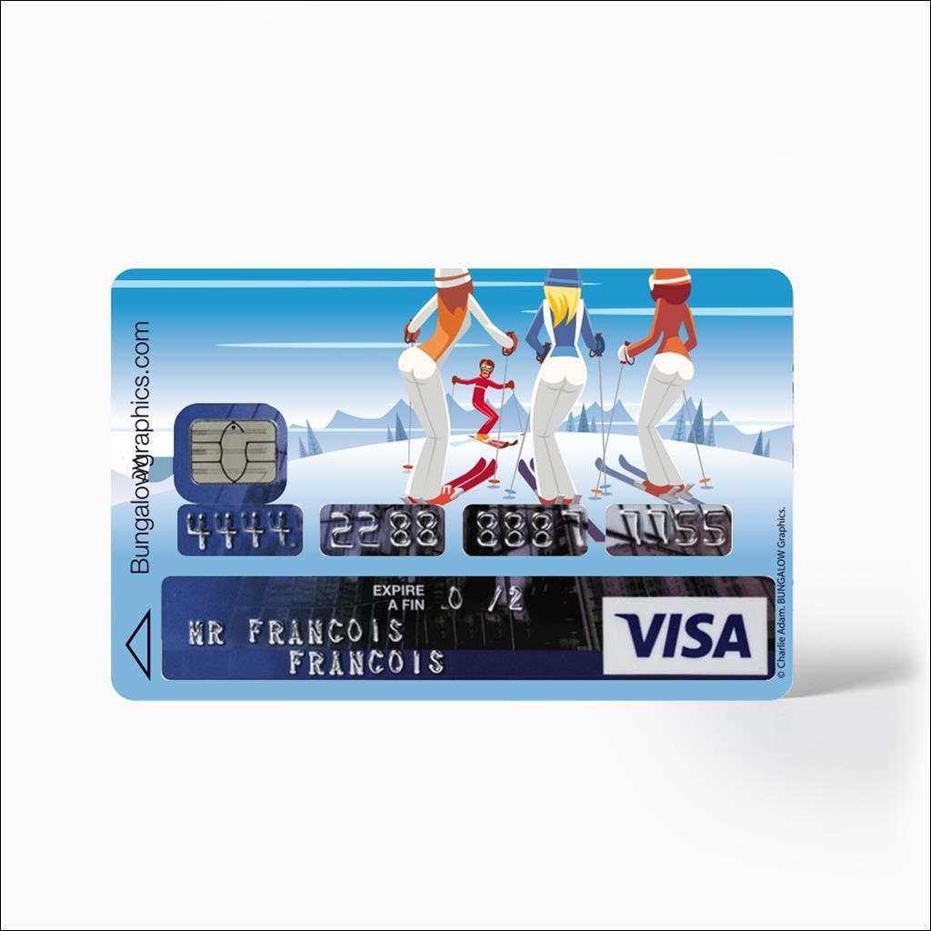 Sticker Carte Bleu - Lecon de ski