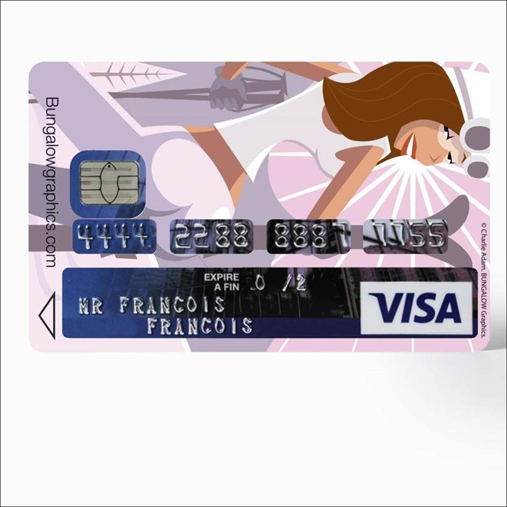 Credit card sticker - Ski babe