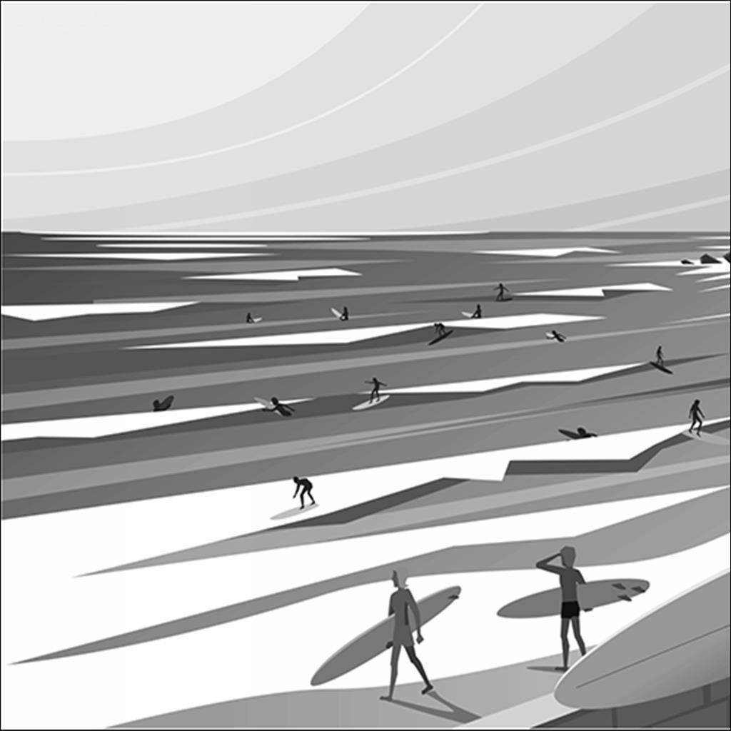 Surfs up Cote des Basques N/B