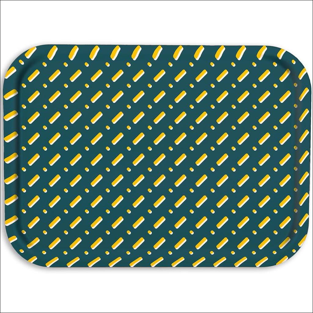 Lines on Teal Wooden Tray