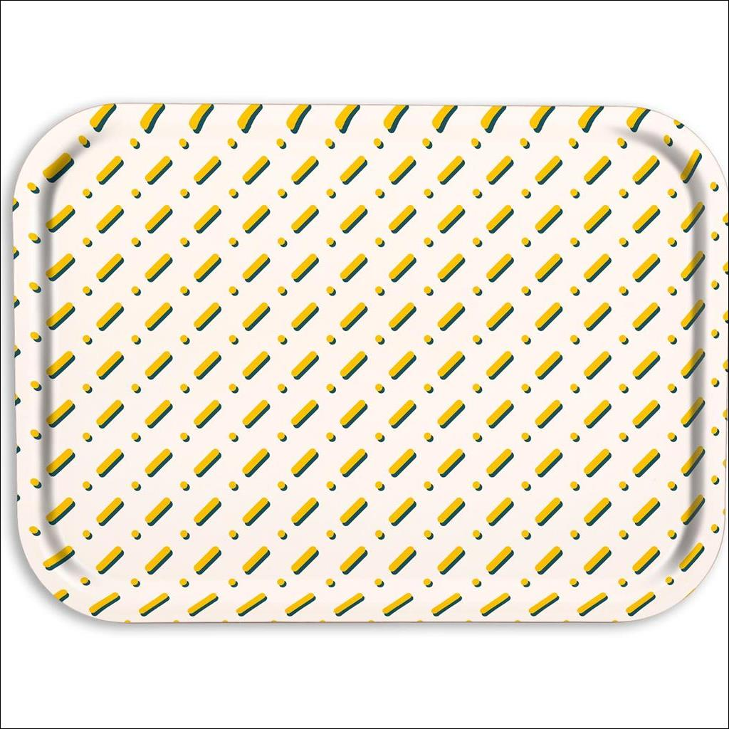 Lines on White Wooden Tray