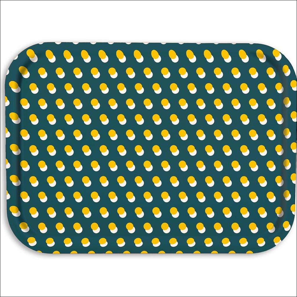 Dot on Teal Wooden Tray