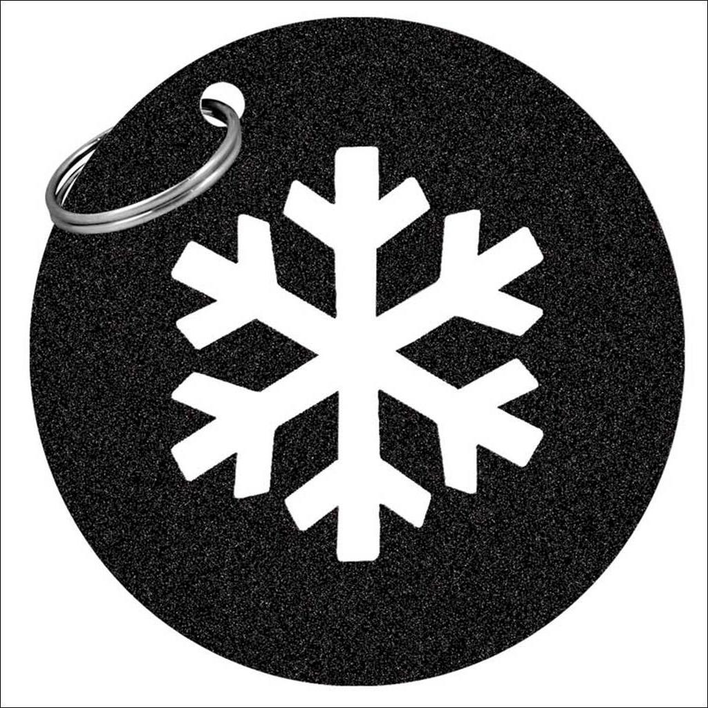 Porte cle flocon - Noir pailette
