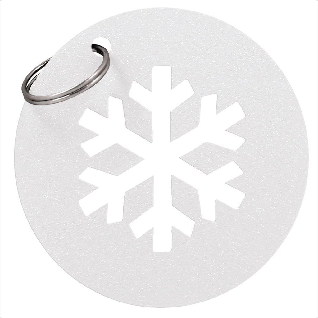 Porte clé  Flocon - Blanc Paillette