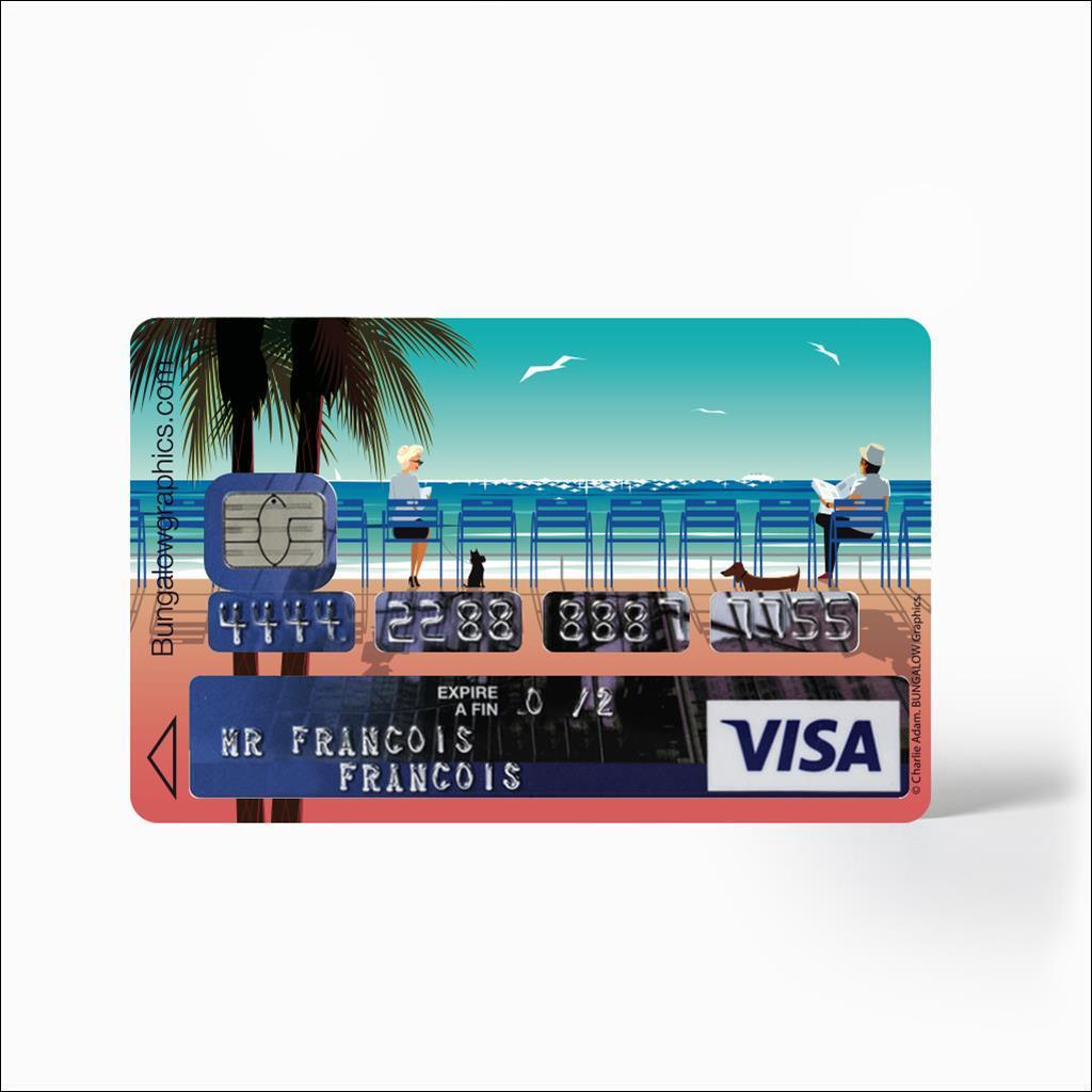 Sticker carte bancaire Les Chaises bleues