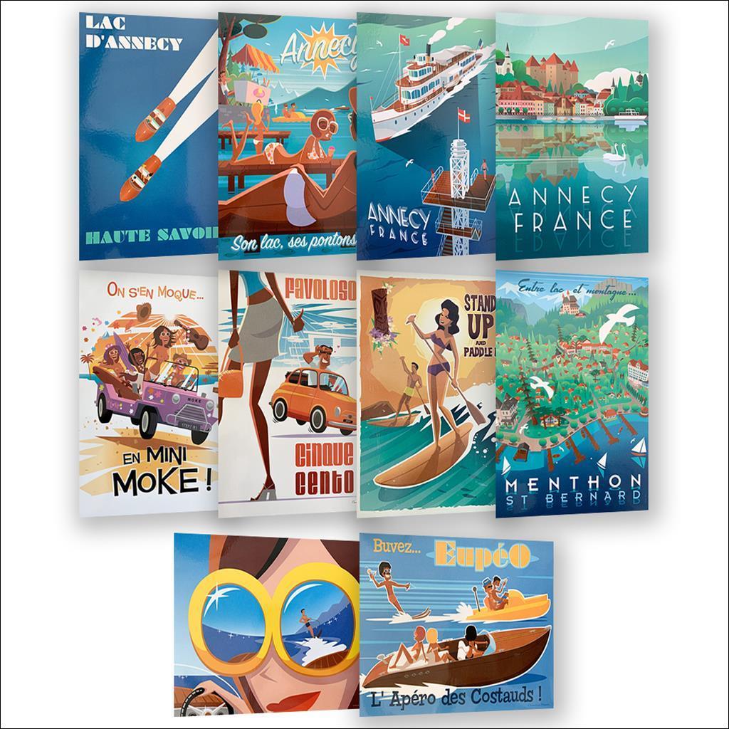 Pack 10 cartes postales été