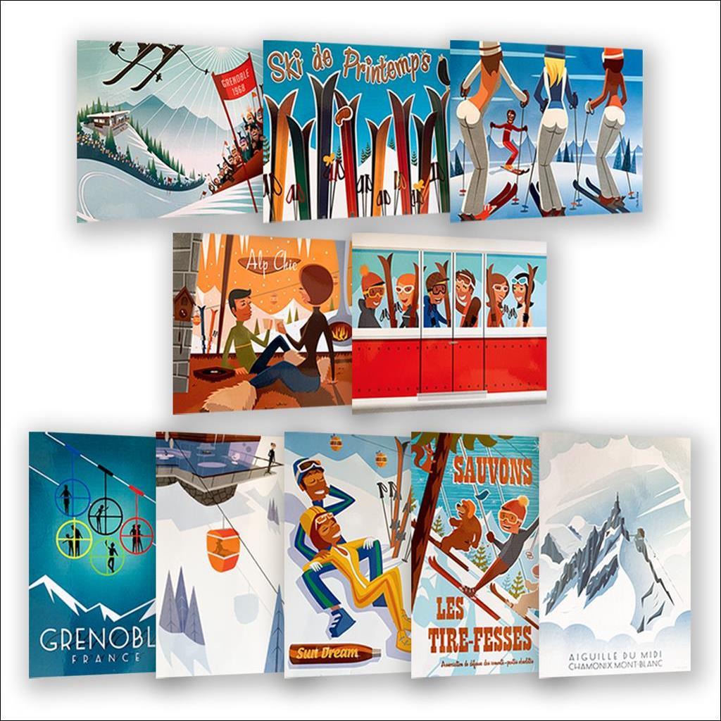 Pack 10 cartes postales hiver