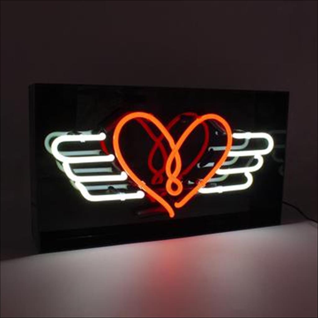 Neon flying heart