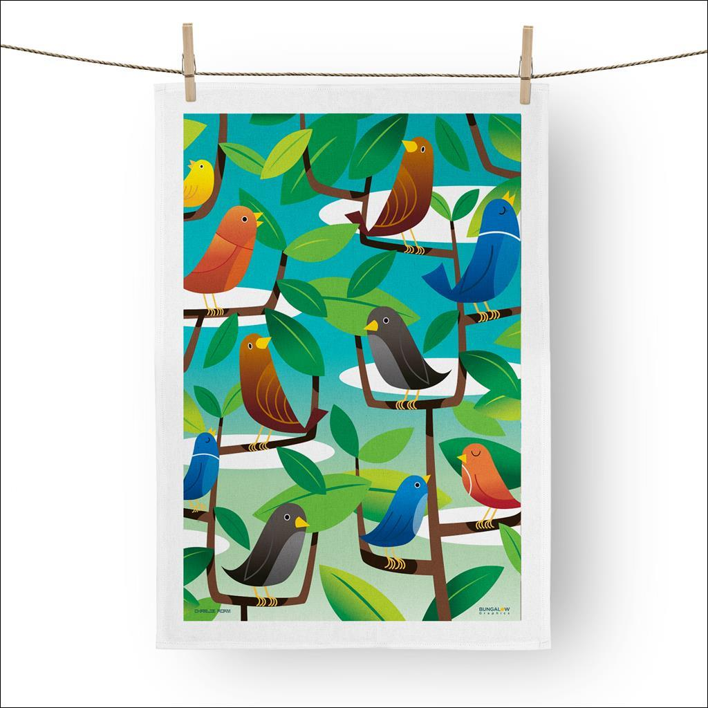 Spring birds Tea towel