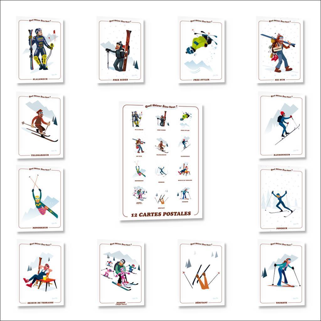 Pack 12 cartes postales Skieurs